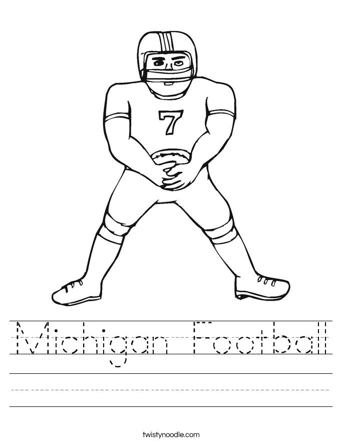 Michigan Football Worksheet Twisty Noodle