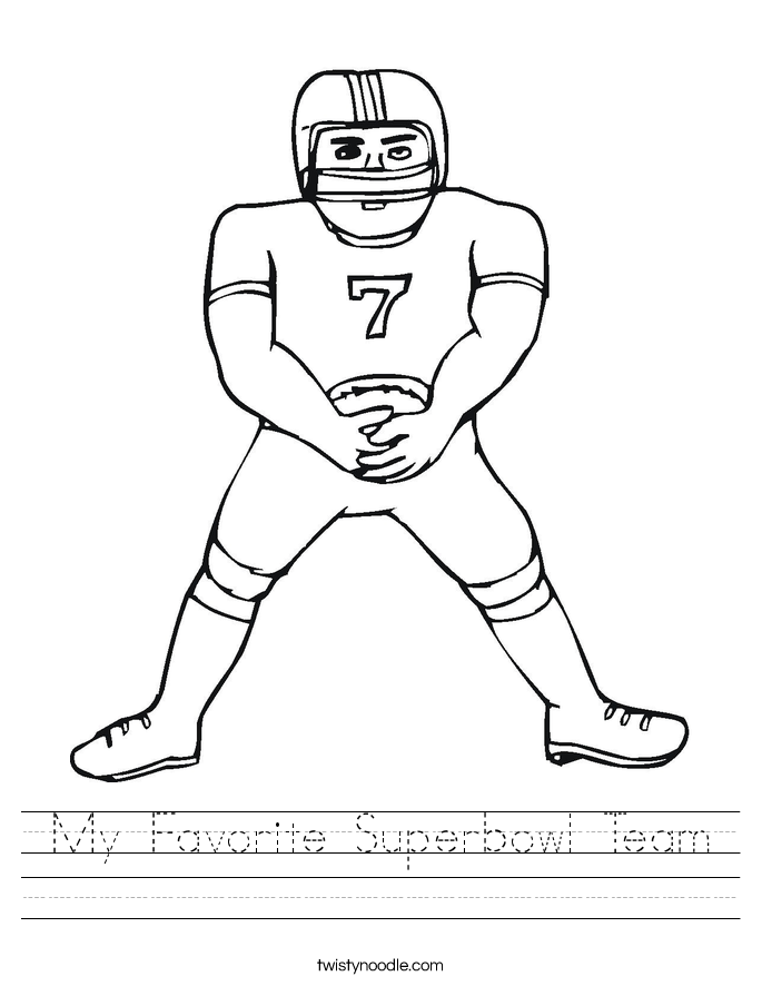 My Favorite Superbowl Team Worksheet