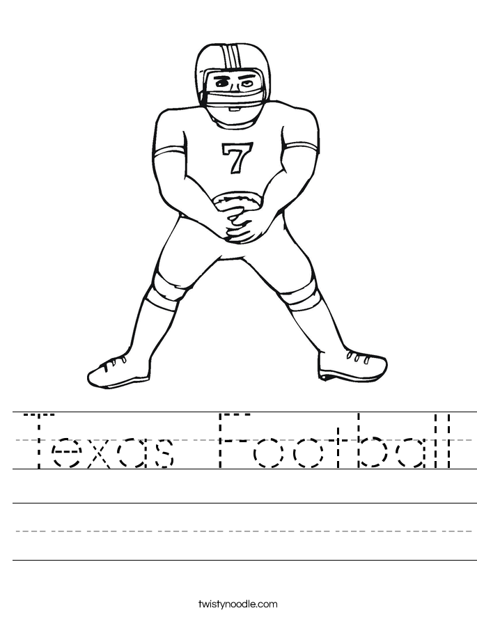 Texas Football Worksheet