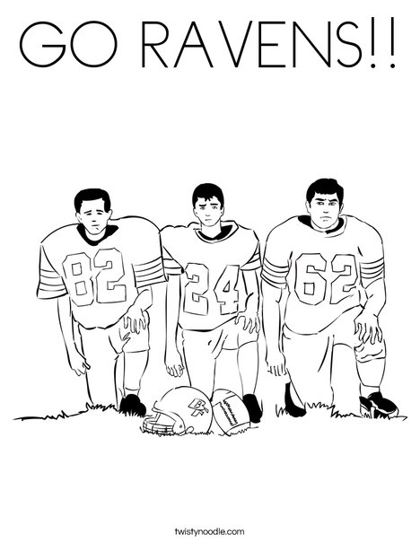 Raven Football Colors Football Players Coloring Page