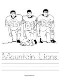Mountain Lions Worksheet