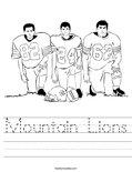Mountain Lions Worksheet