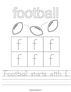 Football starts with f Handwriting Sheet