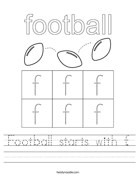 Football starts with f. Worksheet