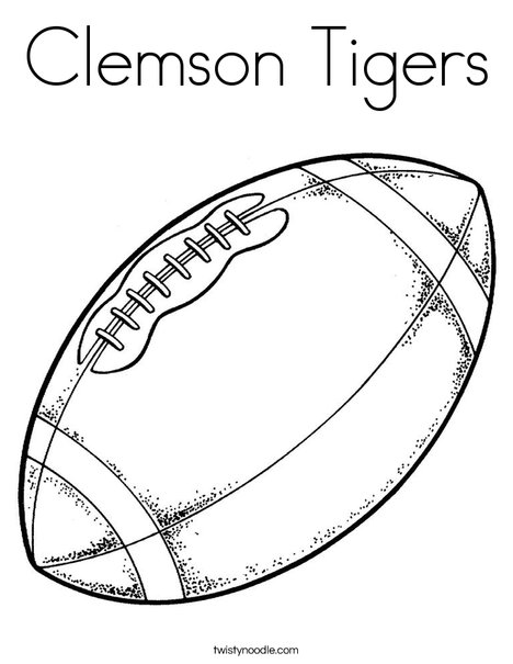 Tiger Football Coloring Pages. Football Coloring Page Clemson Tigers  Twisty Noodle