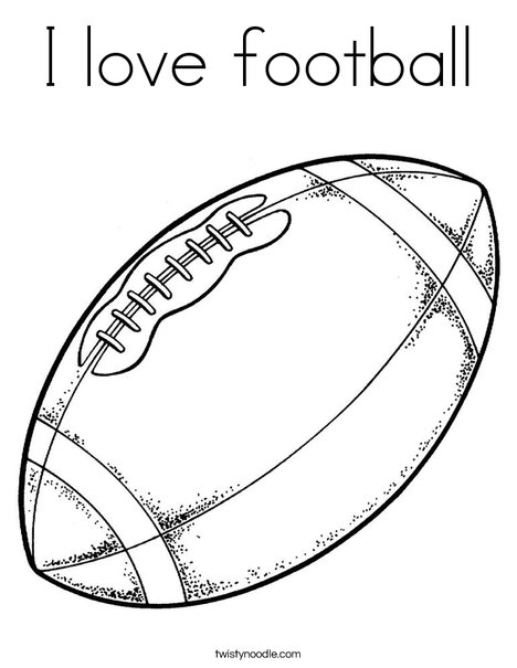 I love football Coloring Page Twisty Noodle