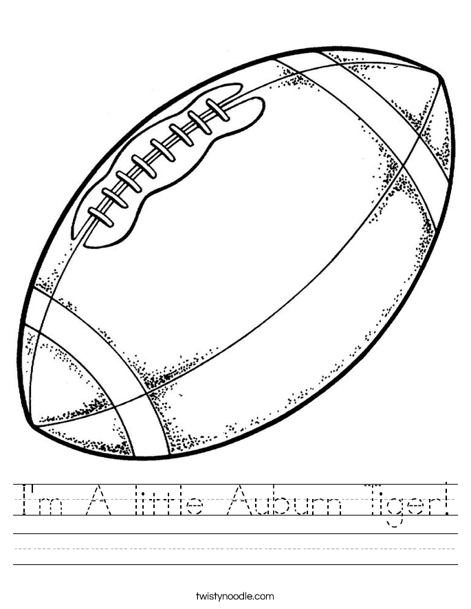 I'm A little Auburn Tiger! Worksheet
