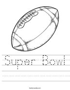 Super Bowl Handwriting Sheet