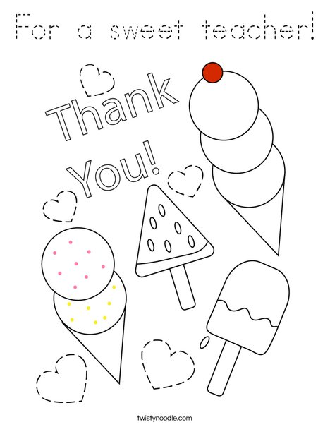 For a sweet teacher! Coloring Page