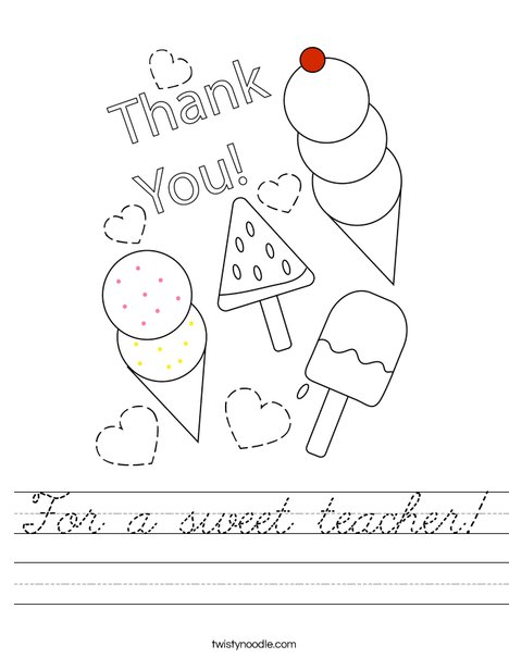 For a sweet teacher! Worksheet