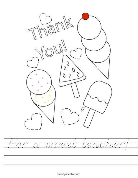 For a sweet teacher! Worksheet