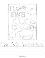 For My Valentine Handwriting Sheet