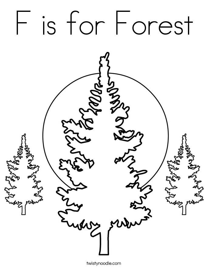 F is for Forest Coloring Page