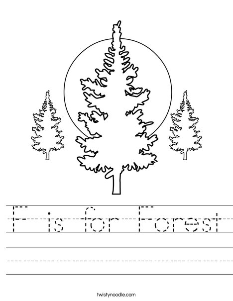 Forest with 3 Trees Worksheet