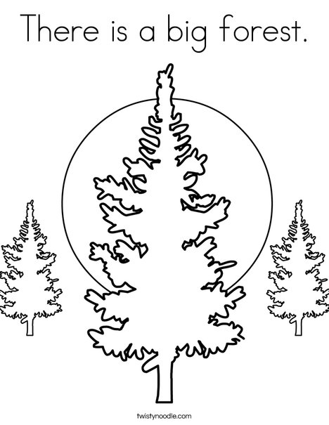 Forest with 3 Trees Coloring Page