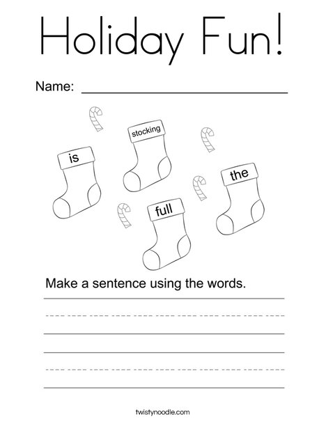 Form a holiday sentence Coloring Page