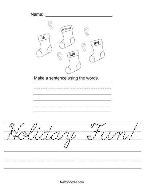 Form a holiday sentence Worksheet