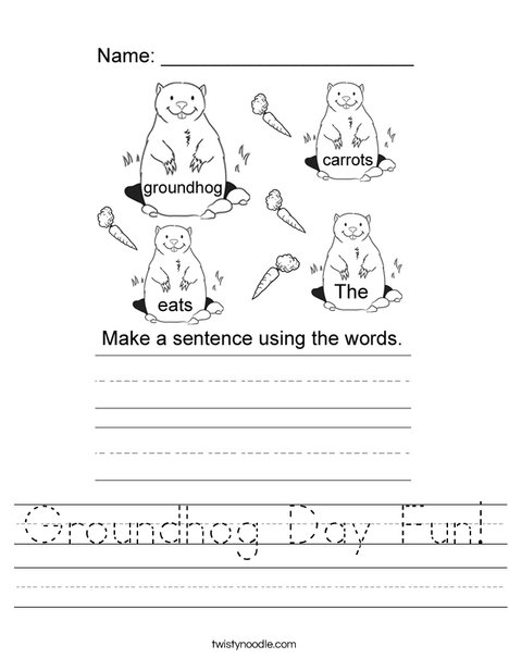 Form a sentence groundhog Worksheet