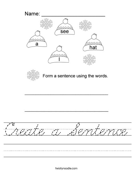 Form a sentence using the hat words Worksheet