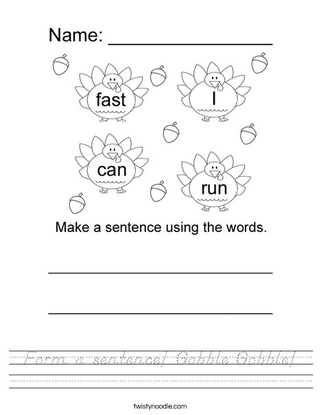 Form a sentence using the turkey words Worksheet