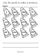 Use the words to make a sentence Coloring Page