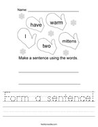 Form a sentence Handwriting Sheet