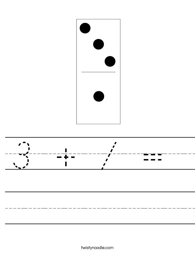 3 + 1 =  Worksheet