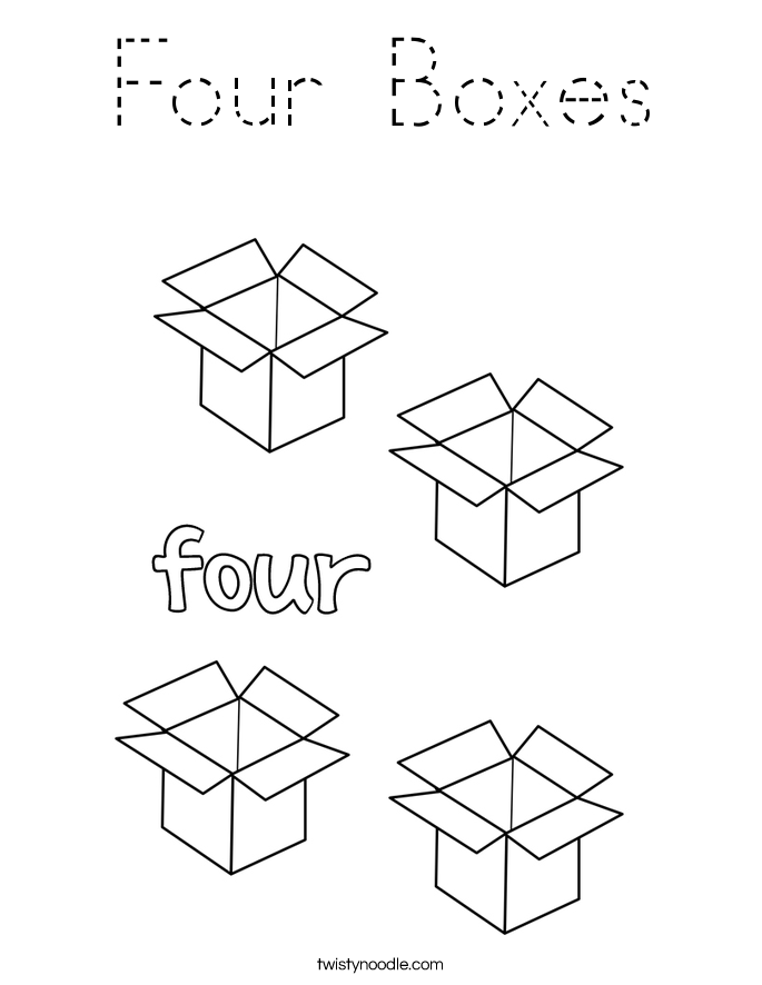Four Boxes Coloring Page