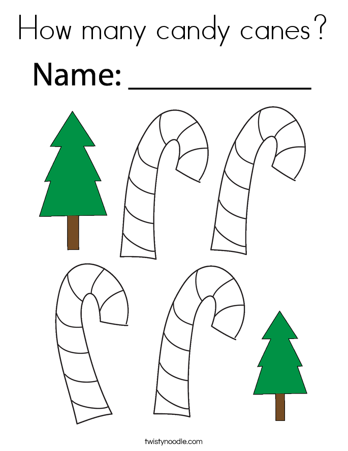 How many candy canes? Coloring Page