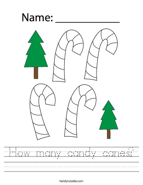 How many candy canes? Worksheet