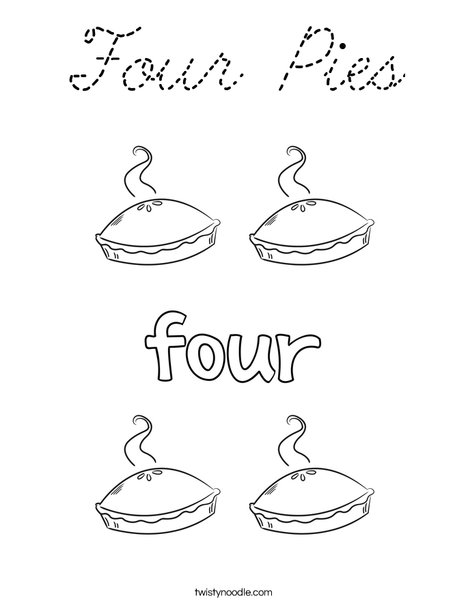 Four Pies Coloring Page