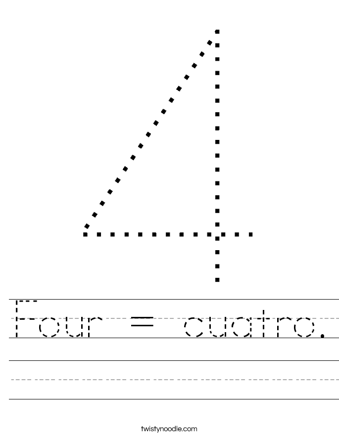 Four = cuatro. Worksheet