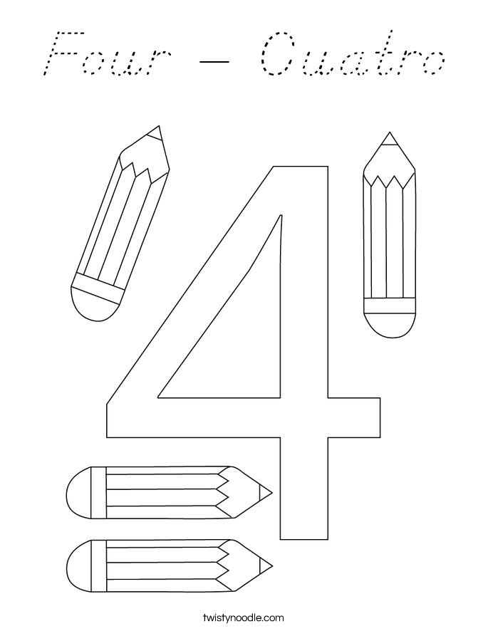 Four - Cuatro Coloring Page