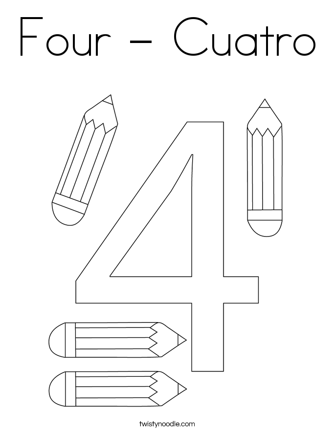 Four - Cuatro Coloring Page
