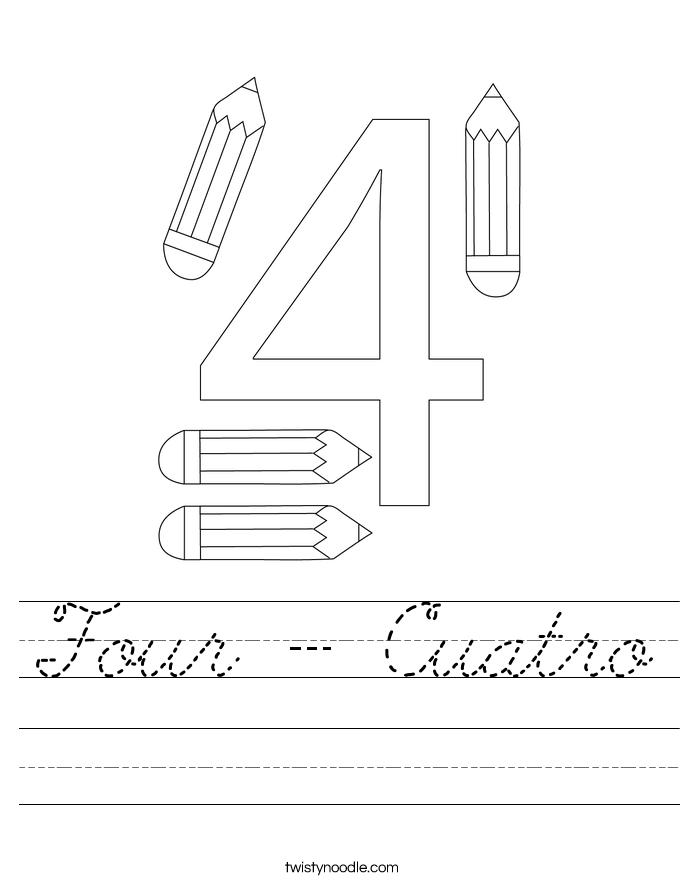 Four - Cuatro Worksheet
