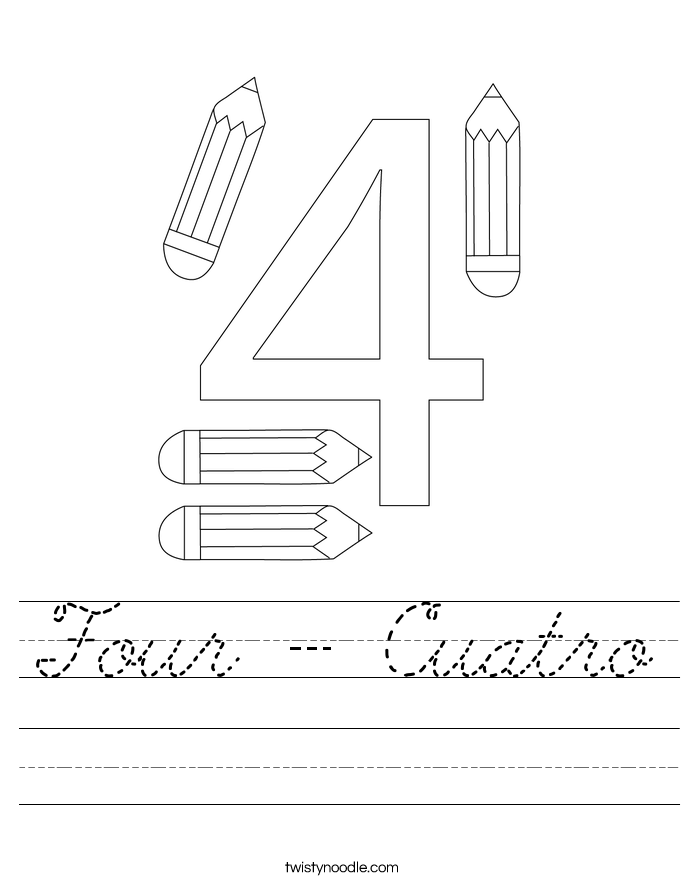 Four - Cuatro Worksheet