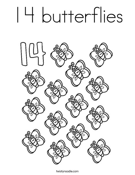 Fourteen Butterflies Coloring Page