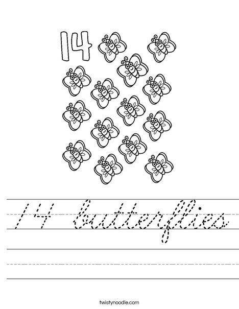Fourteen Butterflies Worksheet