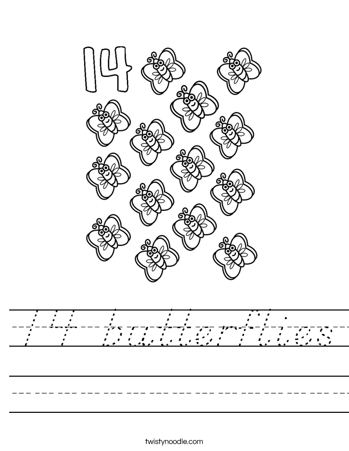 14 butterflies Worksheet