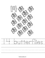 14 butterflies Handwriting Sheet