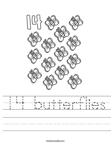 Fourteen Butterflies Worksheet