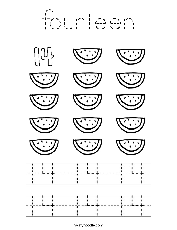 fourteen Coloring Page