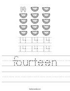 fourteen Handwriting Sheet