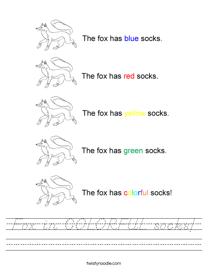 Fox in COLORFUL socks! Worksheet