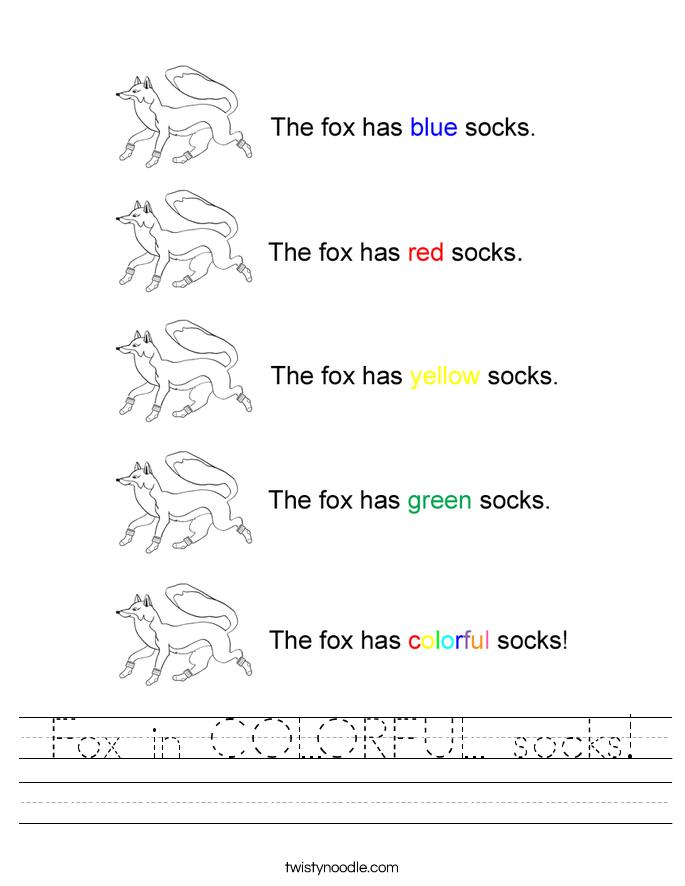 Fox in COLORFUL socks! Worksheet
