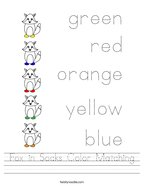 Fox in Socks Color Matching Handwriting Sheet