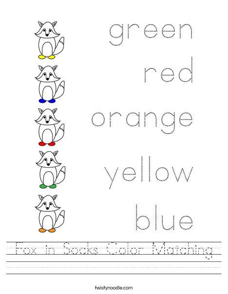 Fox in Socks Color Matching Worksheet