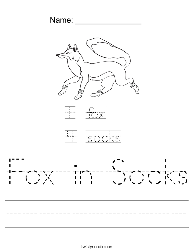 Fox in Socks Worksheet