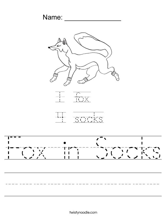 Fox in Socks Worksheet