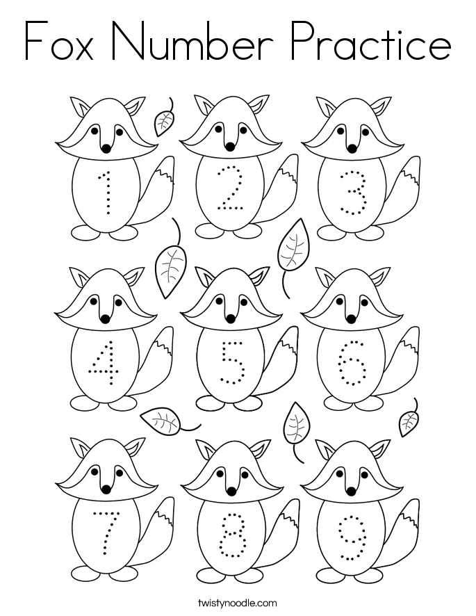 Fox Number Practice Coloring Page